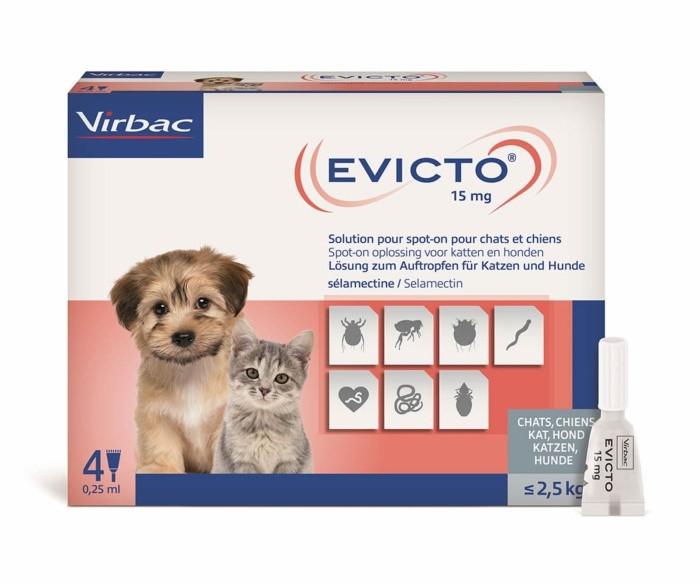 Evicto 15 mg pentru caini sub 2,5 kg si pisici - cutie cu 4 pipete