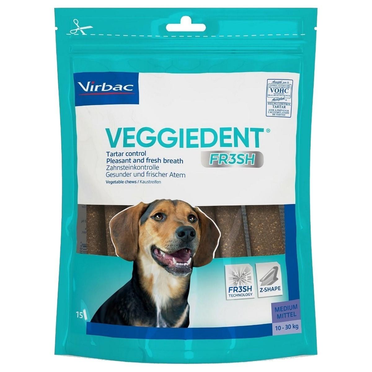 Veggiedent Fr3sh M, batoane masticabile pentru igiena orala pentru caini de talie medie (10-30 kg) - 15 buc