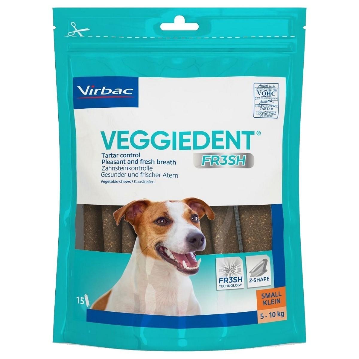 Veggiedent Fr3sh S, batoane masticabile pentru igiena orala pentru caini de talie mica (5-10 kg) - 15 buc