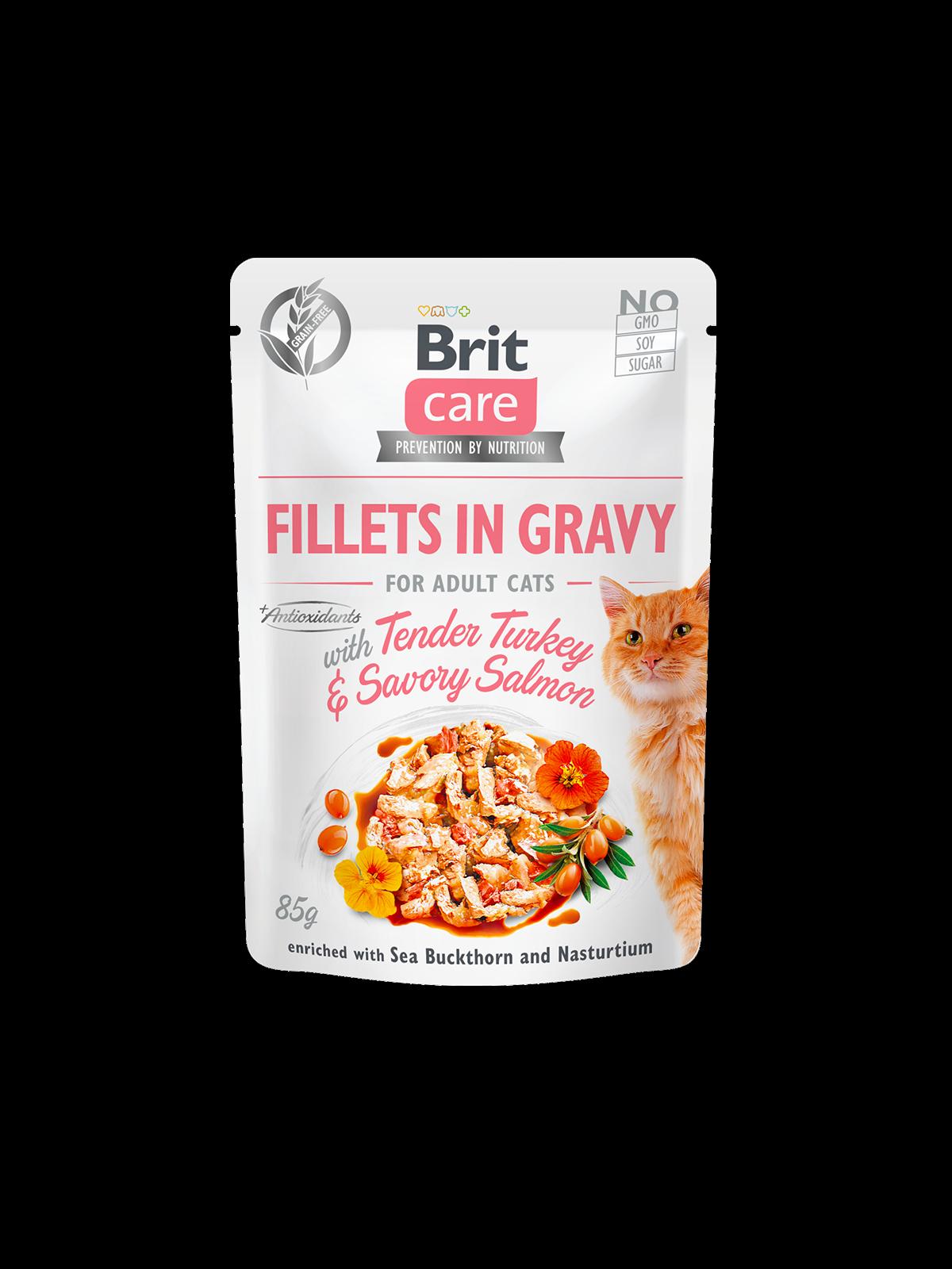 Brit Care Cat Pouch TENDER TURKEY & SAVORY SALMON in Gravy - 85 g