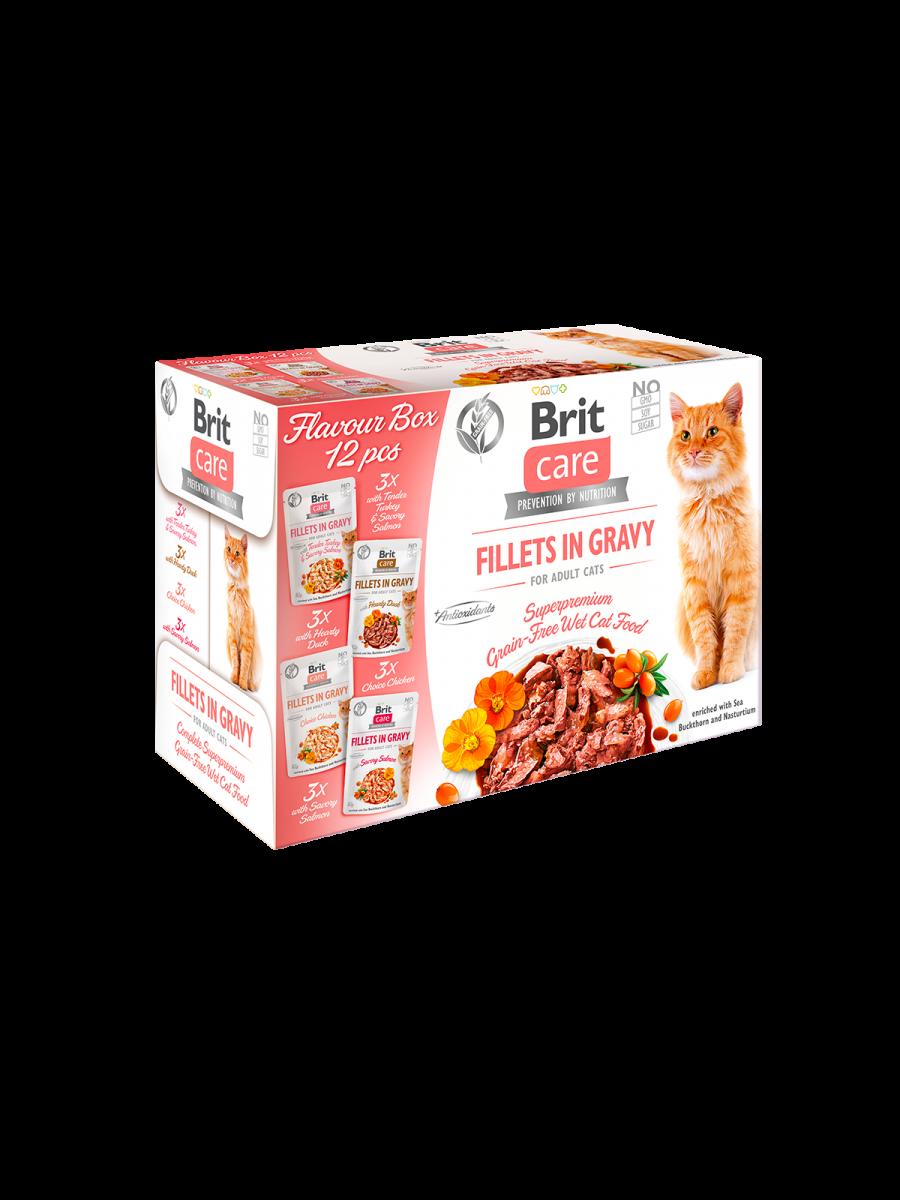 Brit Care Cat Pouches Fillets in Gravy FLAVOUR BOX - 12 plicuri