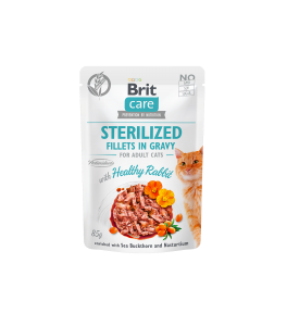 Brit Care Cat Pouch STERILIZED- Healthy Rabbit in Gravy - 85 g
