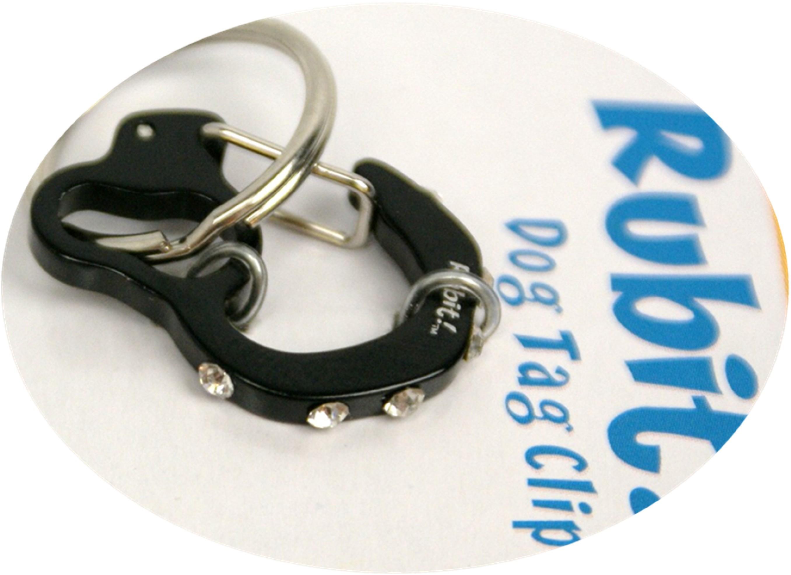 Rubit Dog Tag Clip cu strasuri - carabiniera pentru medalion identificare caini