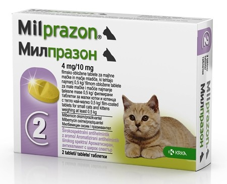 Milprazon pisici sub 2 kg - cutie cu 2 cp