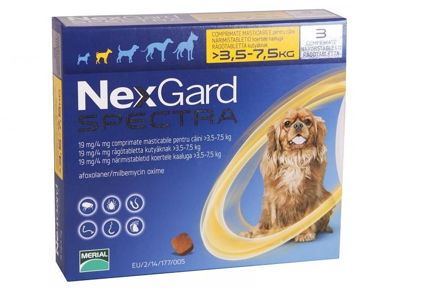 Nexgard Spectra S - 3 comprimate pentru câini de 3.5-7.5 kg