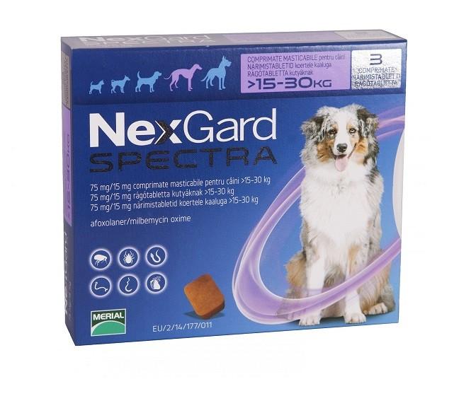 Nexgard Spectra L - 3 comprimate pentru câini de 15-30  kg