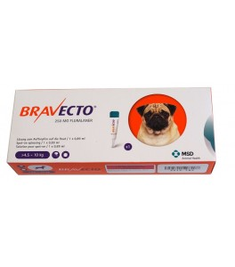 Bravecto spot-on 250 mg - Pipeta pentru caini intre 4.5-10 kg (1 pipeta)