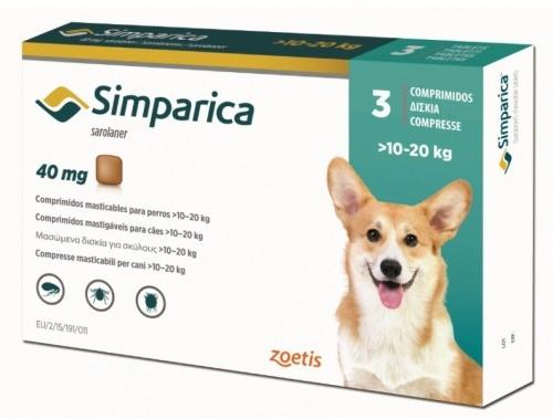 Simparica 40 mg (caini 10-20 kg) - 3 comprimate masticabile