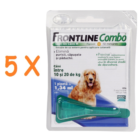 5 pipete Frontline Combo caini 10-20 kg (M)