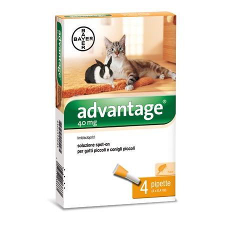 Advantage 40 - 4 pipete ( pentru pisici si iepuri sub 4 kg)