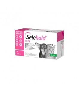 Selehold 15 mg pentru caini si pisici sub 2,5 kg - cutie cu 3 pipete