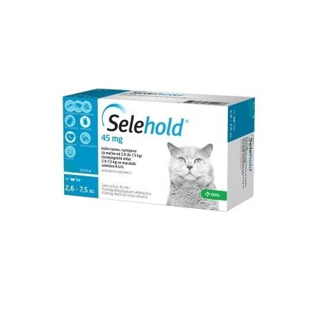Selehold 45 mg pentru pisici intre 2,6-7.5 kg - cutie cu 3 pipete